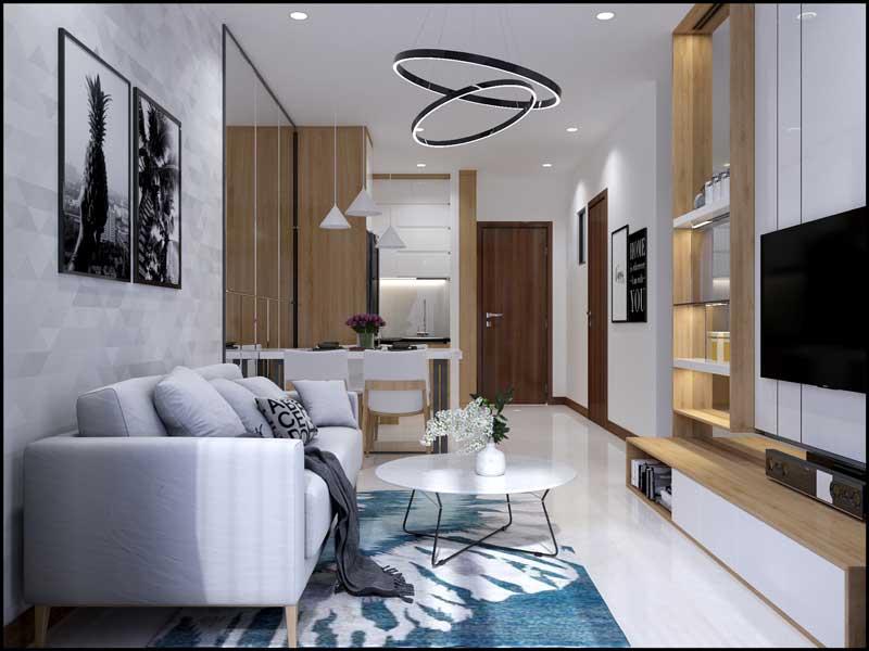 Phòng khách nhà mẫu căn hộ Bcons Green View