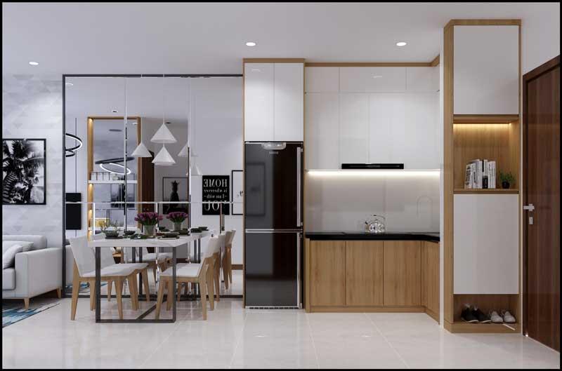 Bếp và bàn ăn nhà mẫu căn hộ Bcons Green View Dĩ An