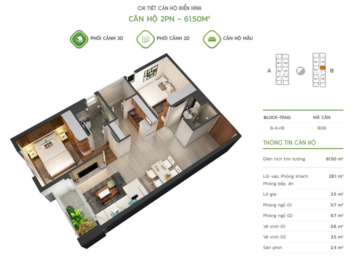 Thiết kế căn hộ 2PN - 61.5m2 tại dự án Lux Star quận 7