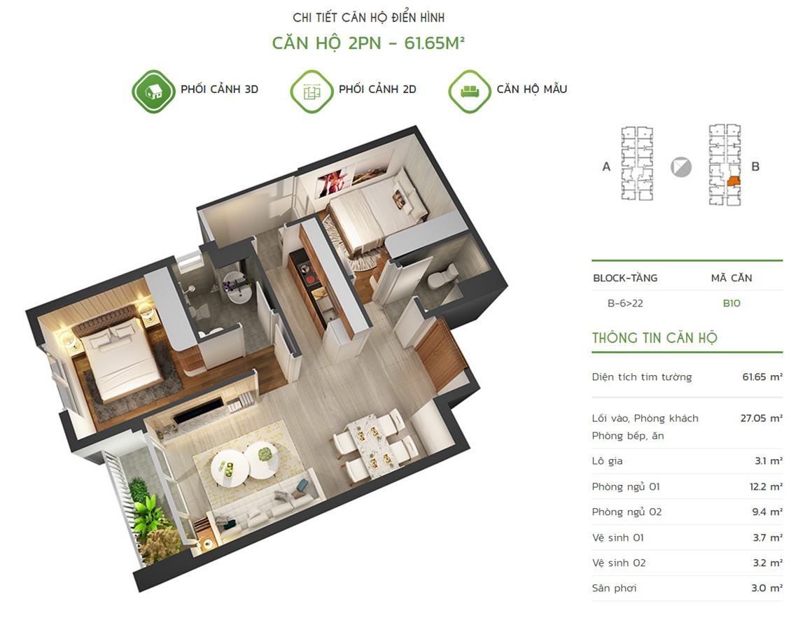 Thiết kế căn hộ 2PN - 61.65m2 tại dự án Lux Star quận 7