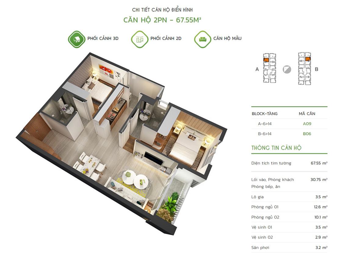 Thiết kế căn hộ 2PN - 67.55m2 tại dự án Lux Star quận 7
