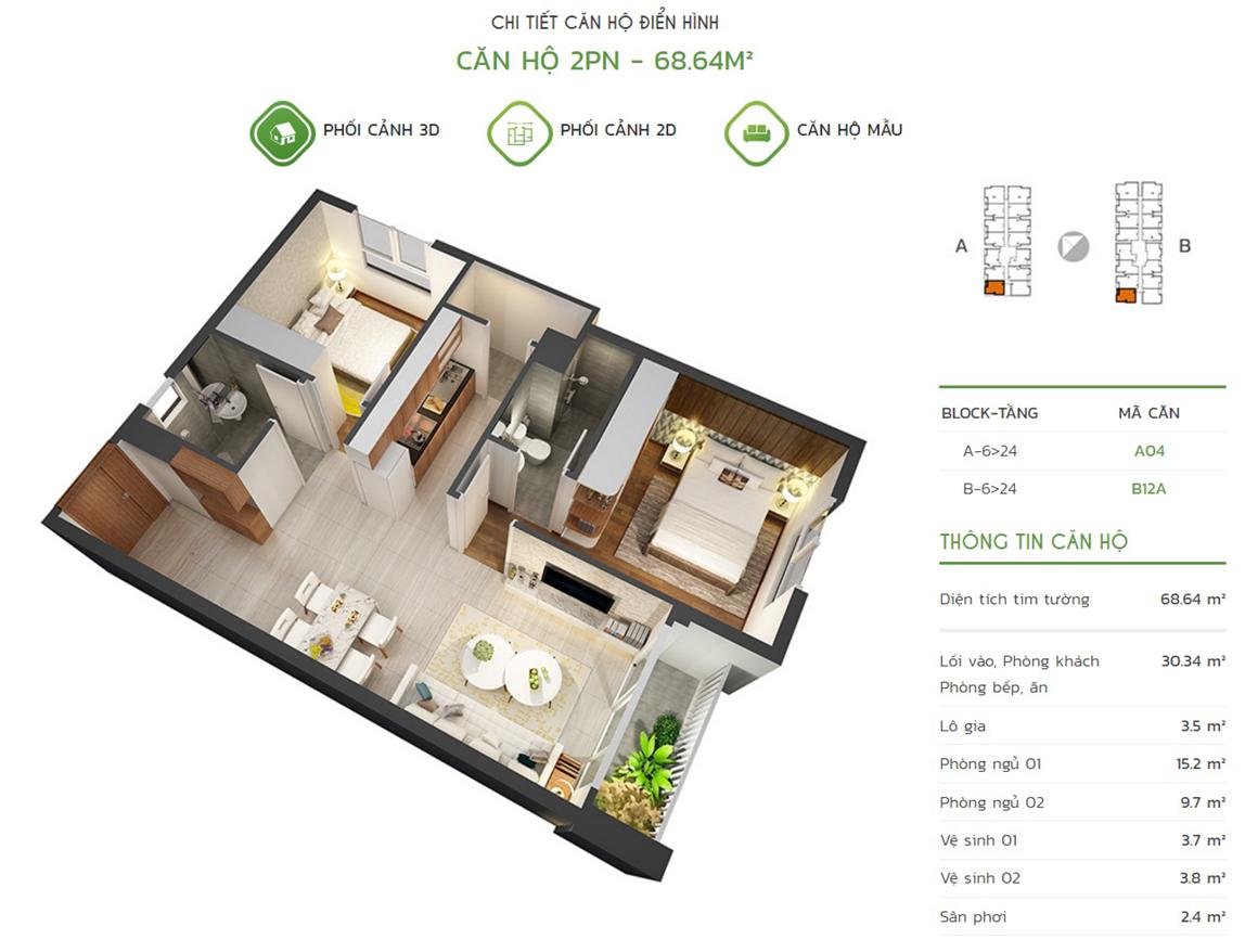 Thiết kế căn hộ 2PN - 68.64m2 tại dự án Lux Star quận 7