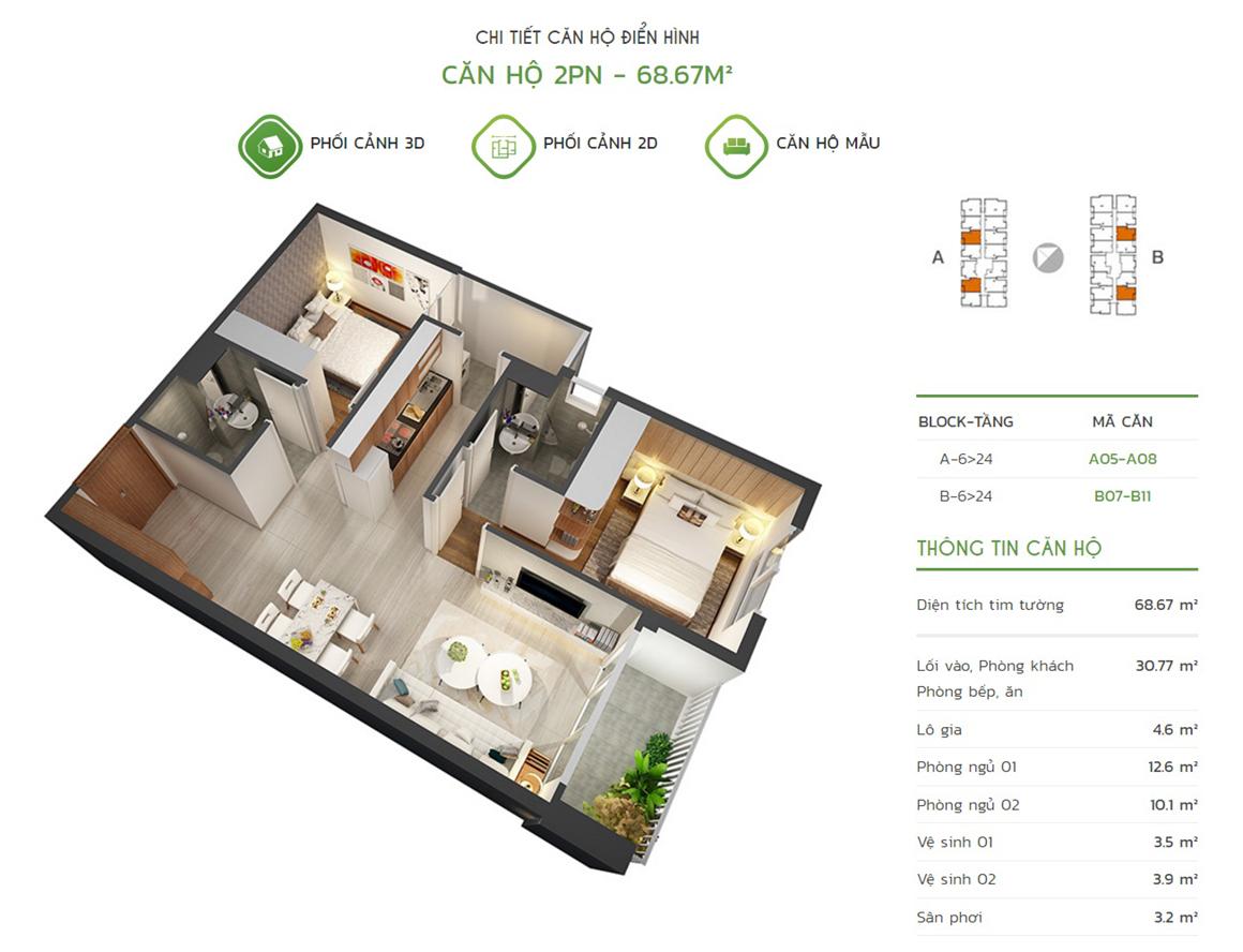 Thiết kế căn hộ 2PN - 68.67m2 tại dự án Lux Star quận 7