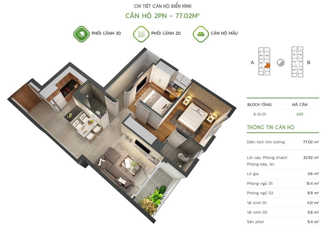Thiết kế căn hộ 2PN - 77.02m2 tại dự án Lux Star quận 7