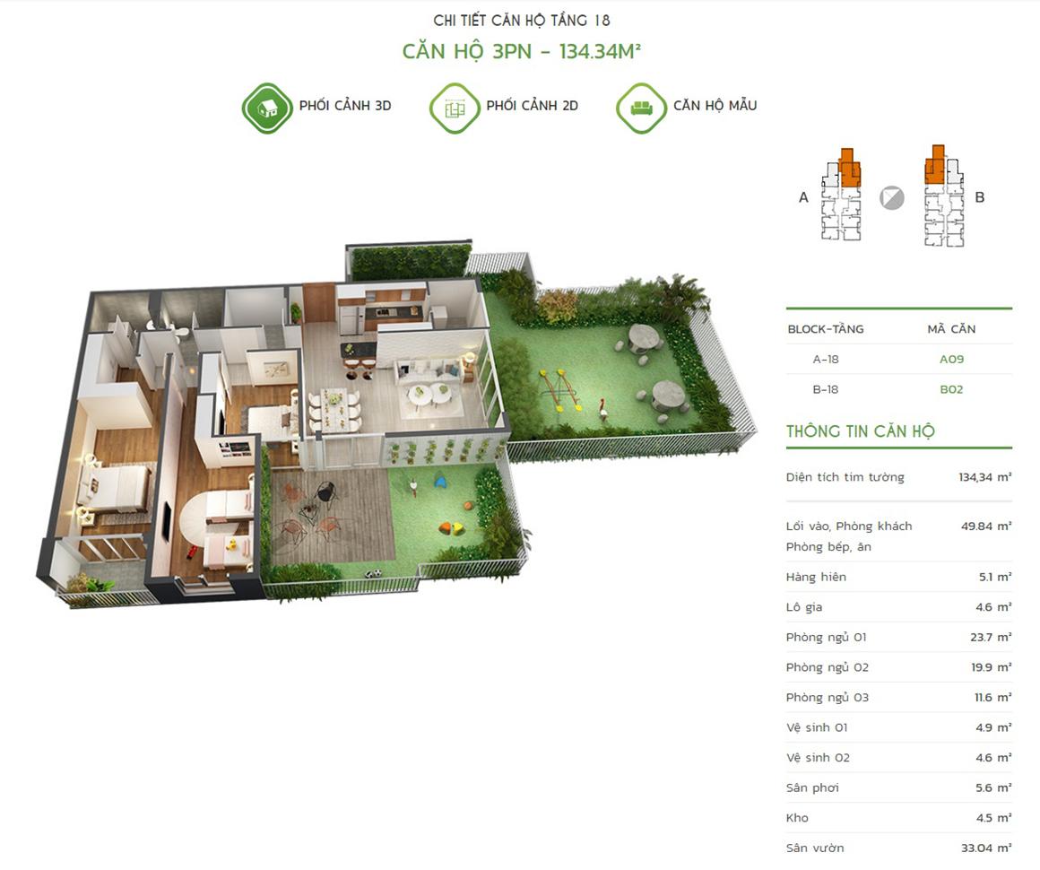 Thiết kế căn hộ 3PN - 134.34m2 tại dự án Lux Star quận 7