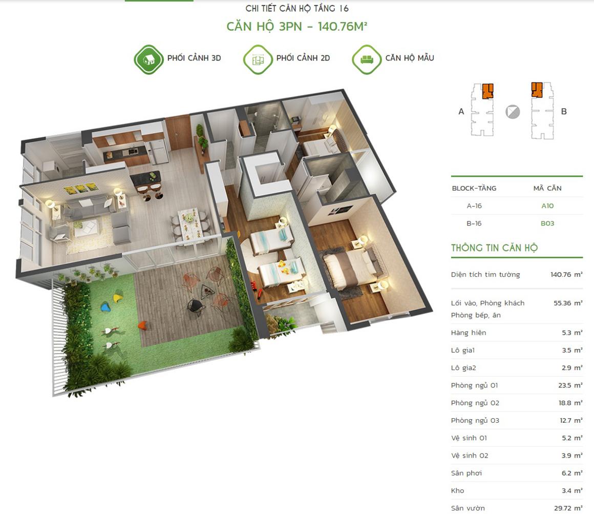 Thiết kế căn hộ 3PN - 140.76m2 tại dự án Lux Star quận 7