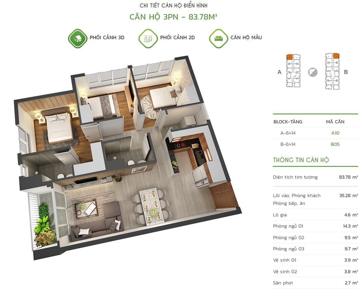 Thiết kế căn hộ 3PN - 83.78m2 tại dự án Lux Star quận 7