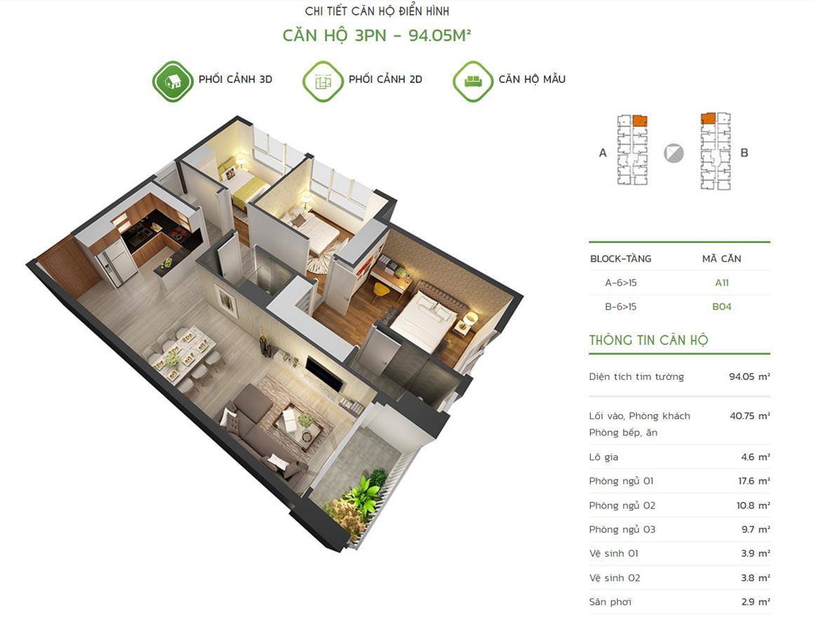 Thiết kế căn hộ 3PN - 94.05m2 tại dự án Lux Star quận 7