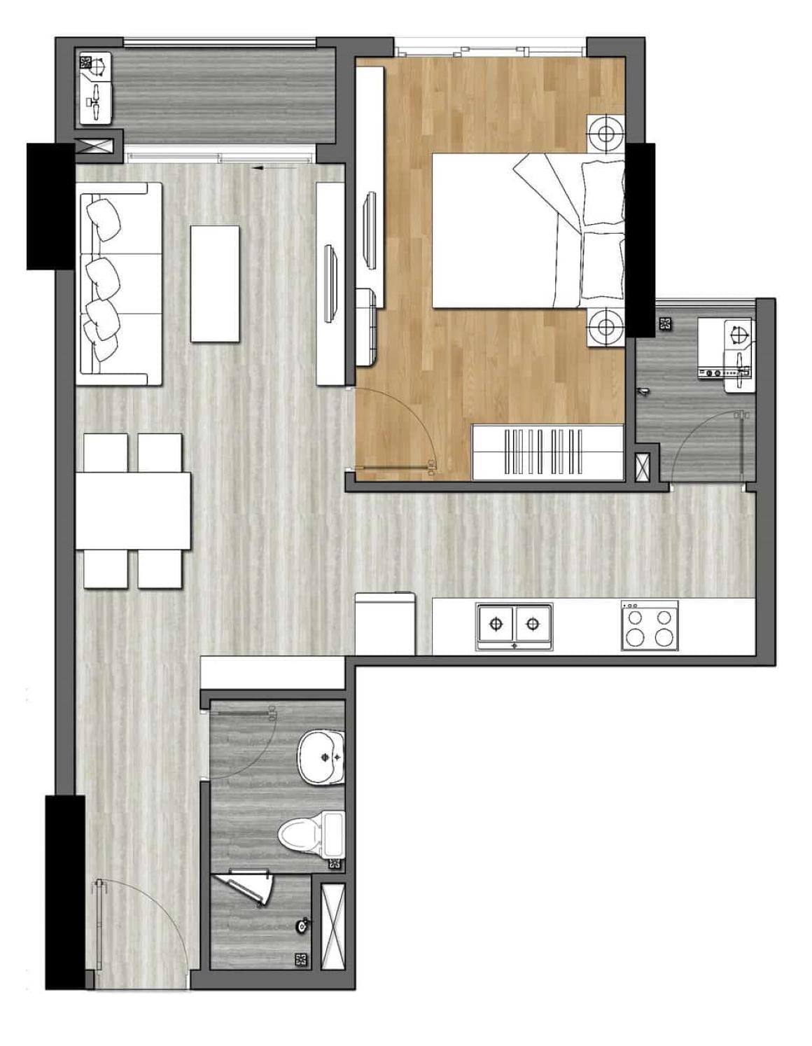Thiết kế căn hộ New Galaxy - 1PN