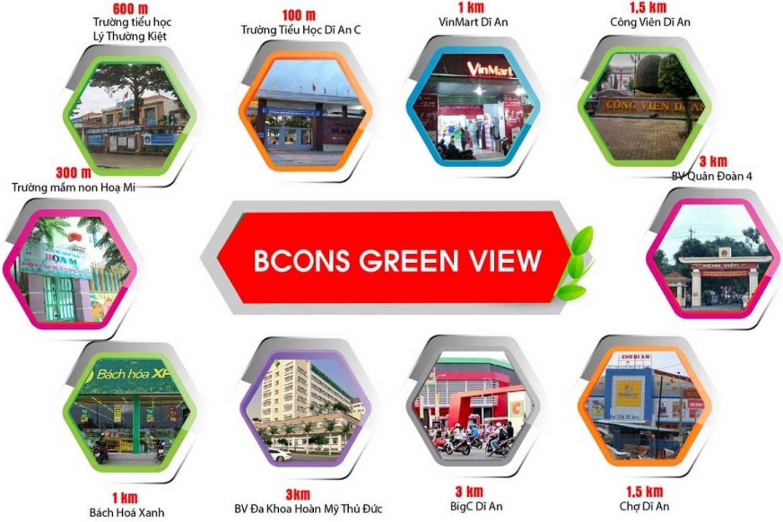 Vị trí thuận lợi của dự án căn hộ Bcons Green View