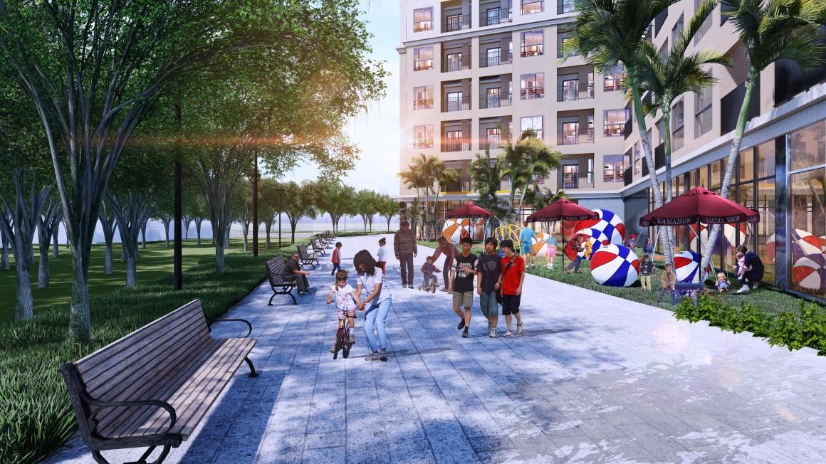 Công viên dạo bộ bên trong dự án Bcons Green View giúp bạn thư giãn sau ngày làm việc mệt mỏi