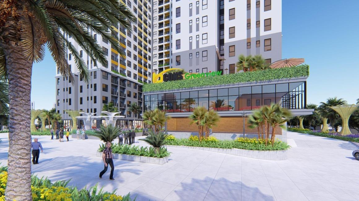 Trung tâm thương mại, khu cafe, vui chơi giải trí tai tầng trệt dự án Bcons Green View