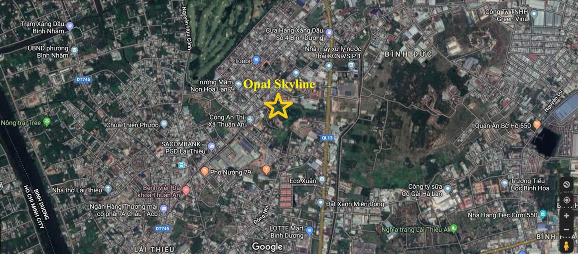 Vị trí căn hộ opal Sky Line Bình Dương