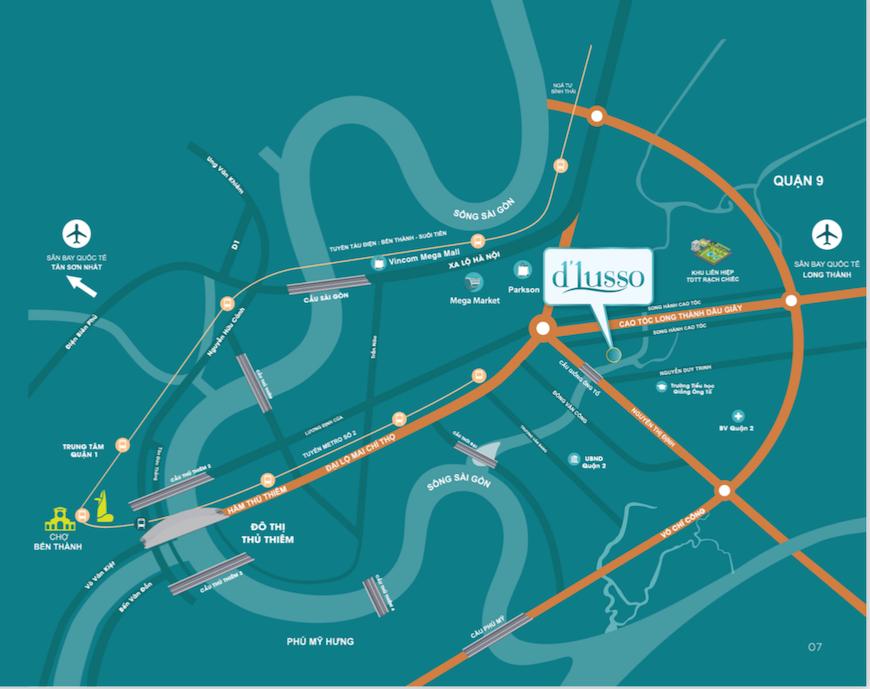 Vị trí dự án căn hộ D'lusso Quận 2. Trung tâm Phường An Phú Quận 2.