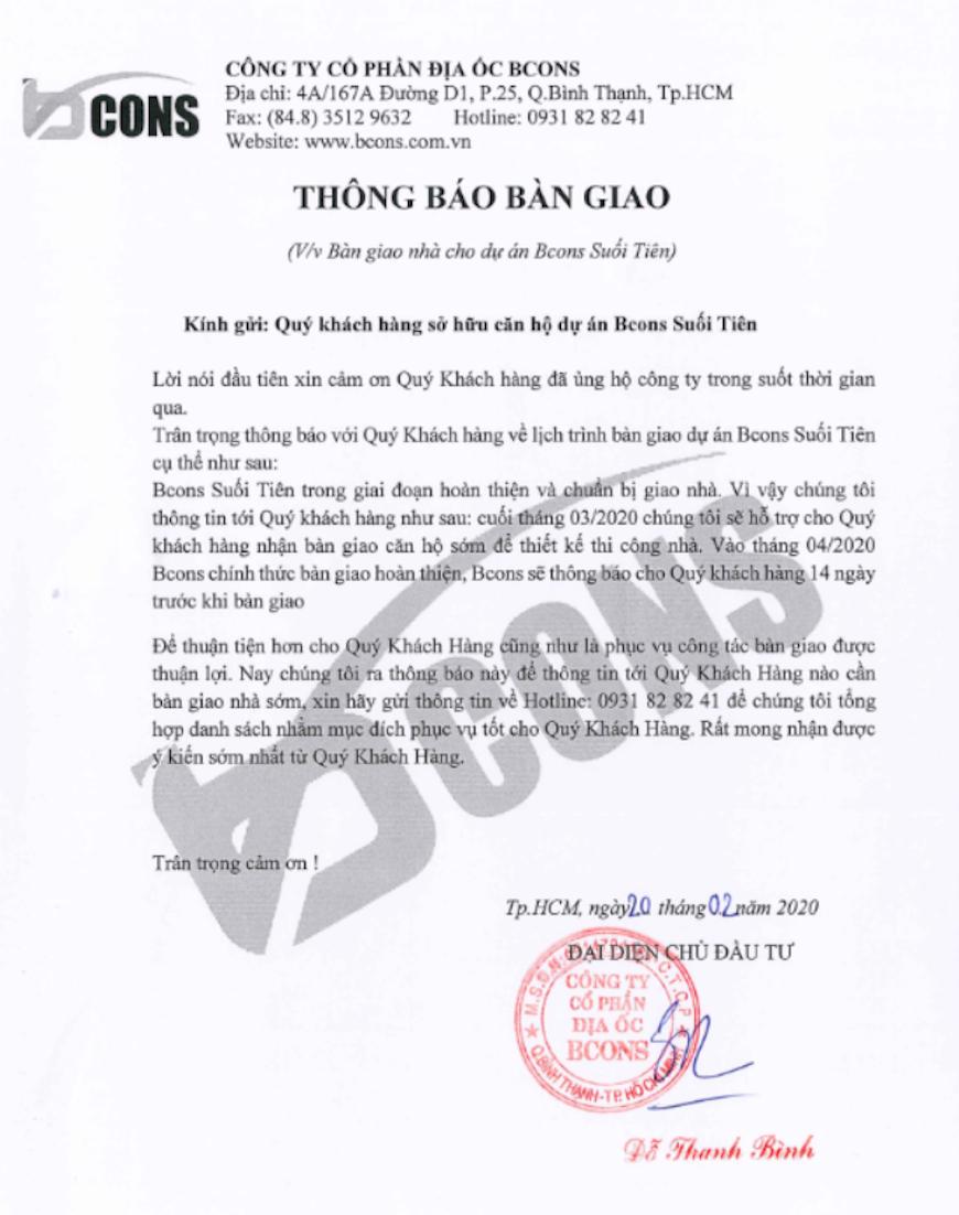 Thông báo bàn giao căn hộ Bcons Suối Tiên