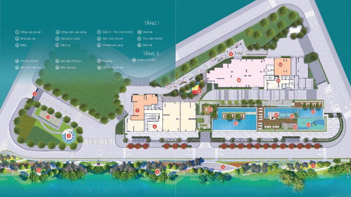 Mặt bằng tổng thể tầng 1 dự án căn hộ D'lusso Quận 2
