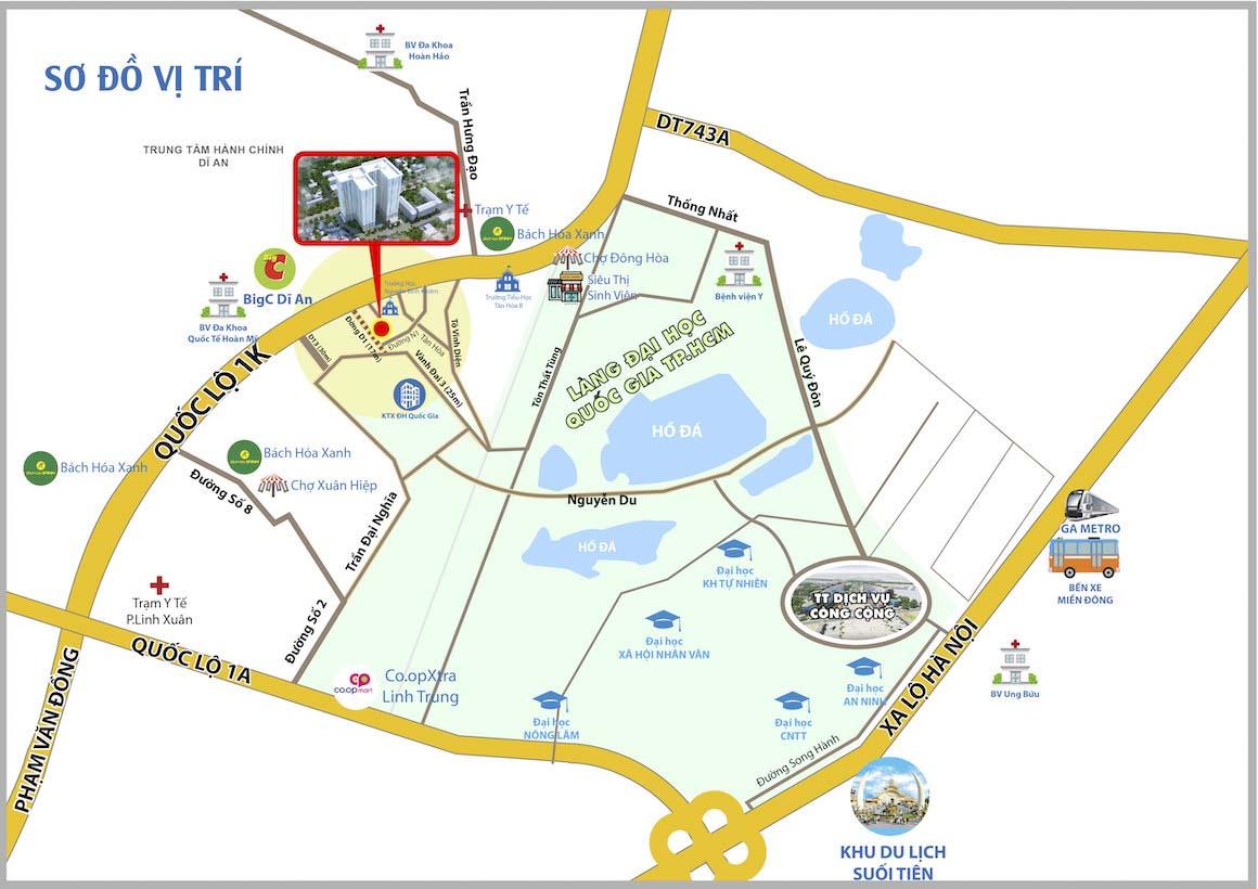Vị trí căn hộ Bcons Green View trên bản đồ. Liên hệ: 0949 893 893 để được hỗ trơ xem thực tế dự án