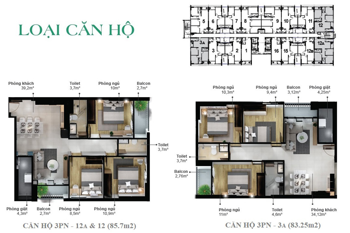 Loại căn hộ dự án Eco Xuân Bình Dương 1