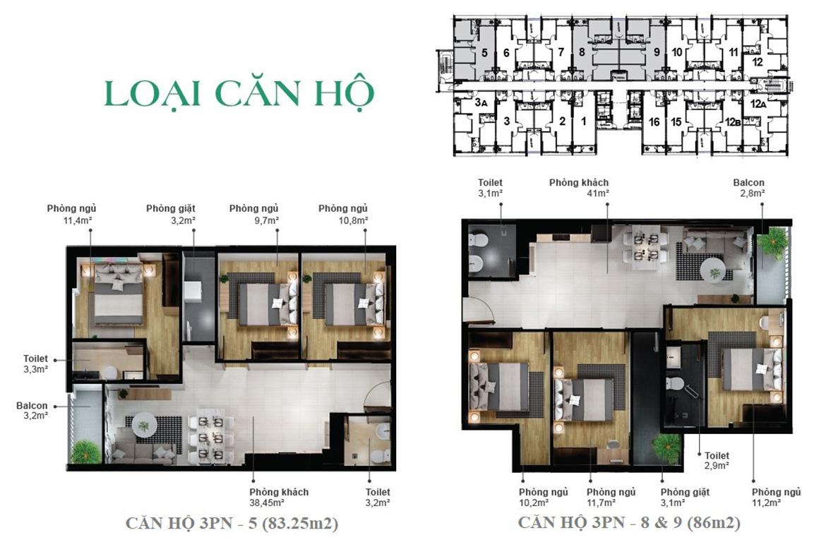Loại căn hộ dự án Eco Xuân Bình Dương 2