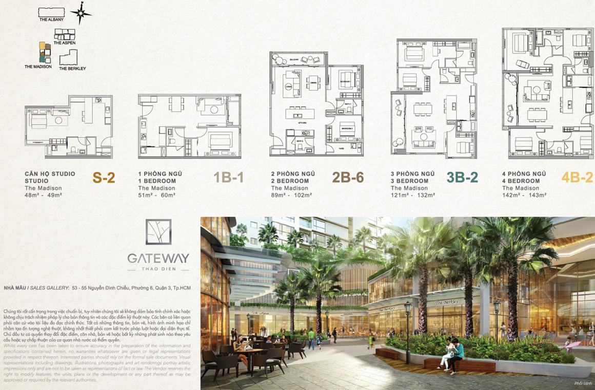 Mặt bằng căn hộ dự án GATEWAY THẢO ĐIỀN QUẬN 2