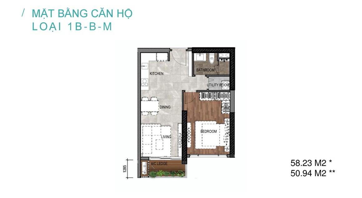 Mặt bằng căn hộ loại 1B-1B-M dự án Celesta Rise Nhà Bè