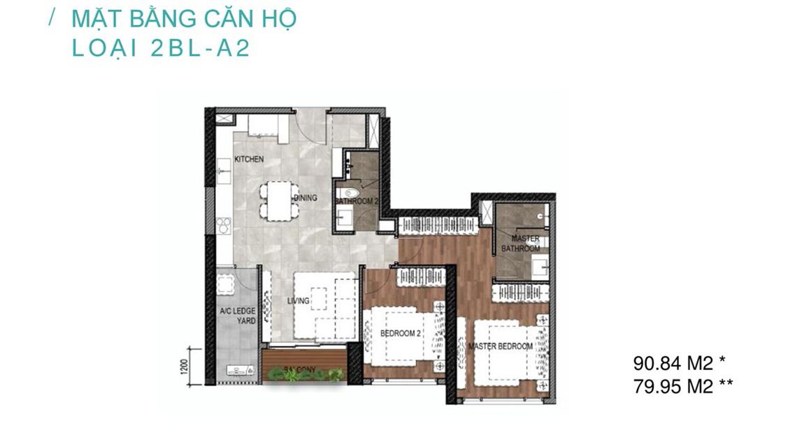 Mặt bằng căn hộ loại 2BL-A2 Celesta Rise Nhà Bè