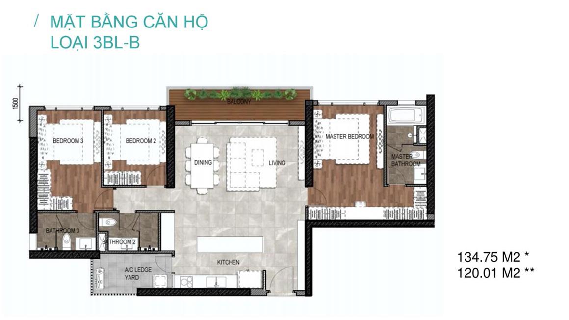 Mặt bằng căn hộ loại 3BL-B dự án Celesta Rise Nhà Bè