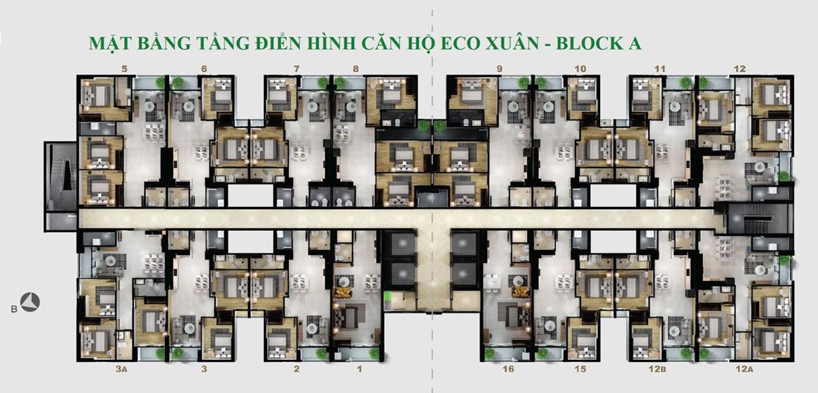 MBT Điển hình Block A dự án Eco Xuân Bình Dương
