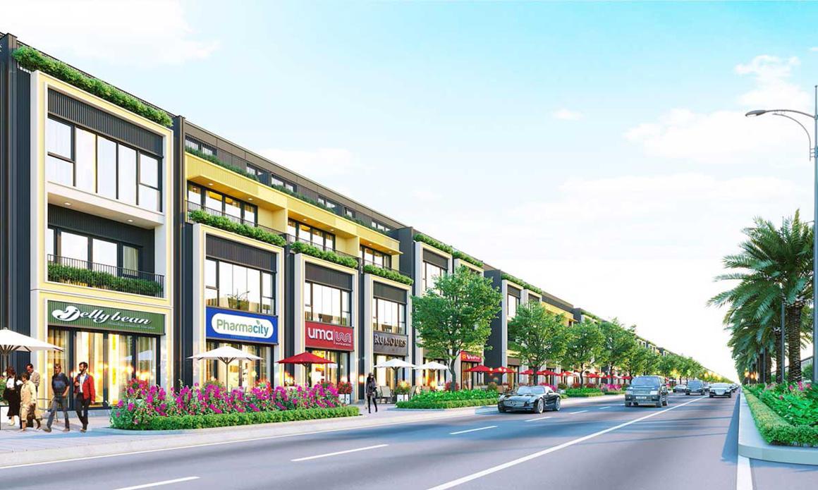 Phối cảnh nhà phố thương mại ( SHOPHOUSE ) dự án Gem Skyworld Long Thành Đồng Nai