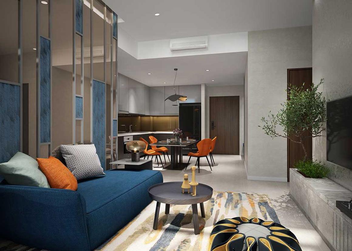 Phòng khách căn hộ dự án Celesta Rise Nhà Bè