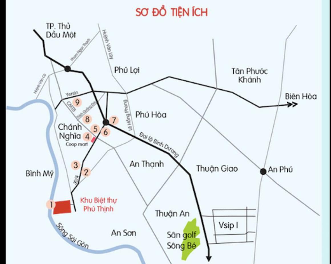 Sơ đồ tiện ích ngoại khu dự án C River view Bình Dương