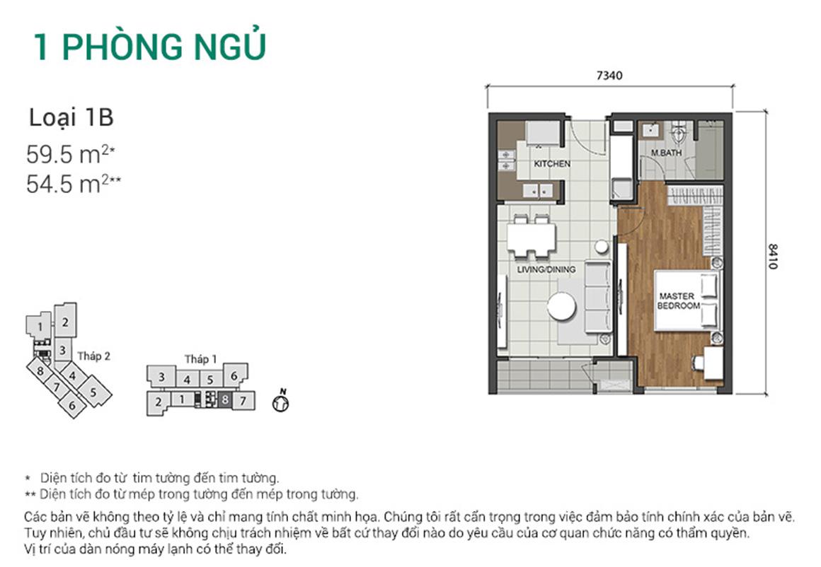 Thiết kế căn 1PN - dự án Estella Height