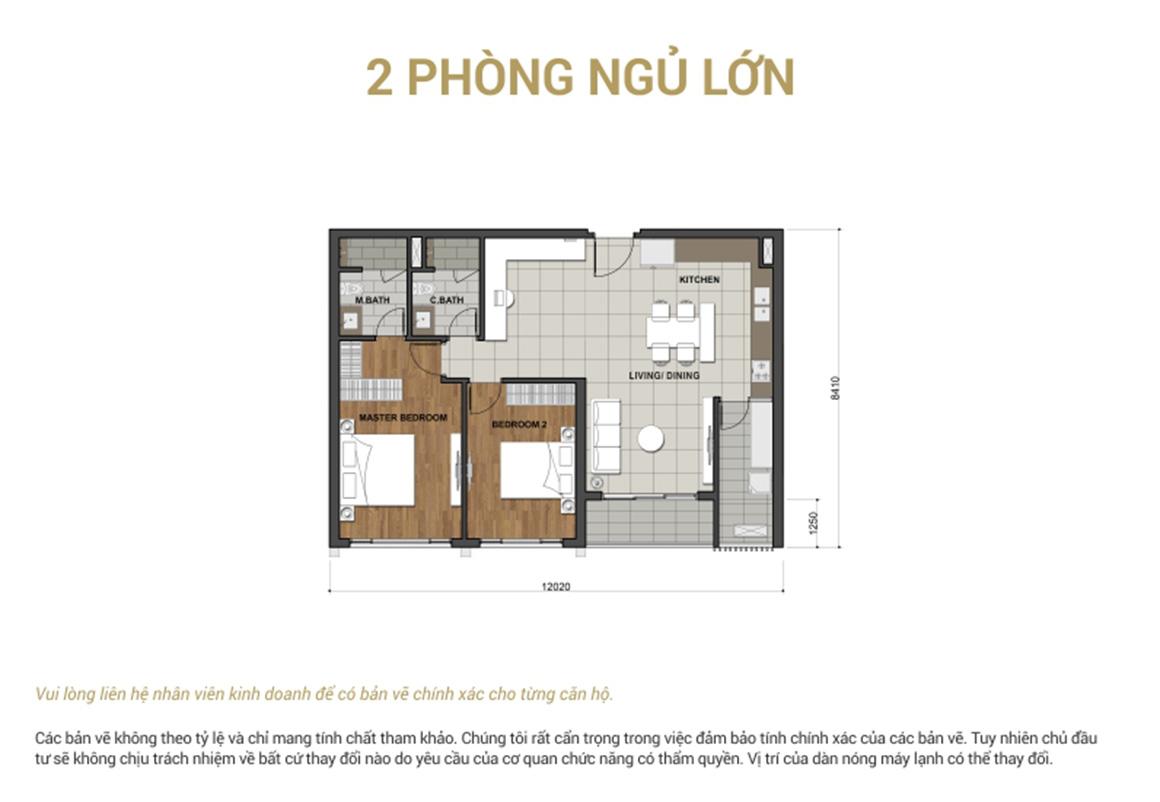 Thiết kế căn 2PN lớn - dự án Estella Height
