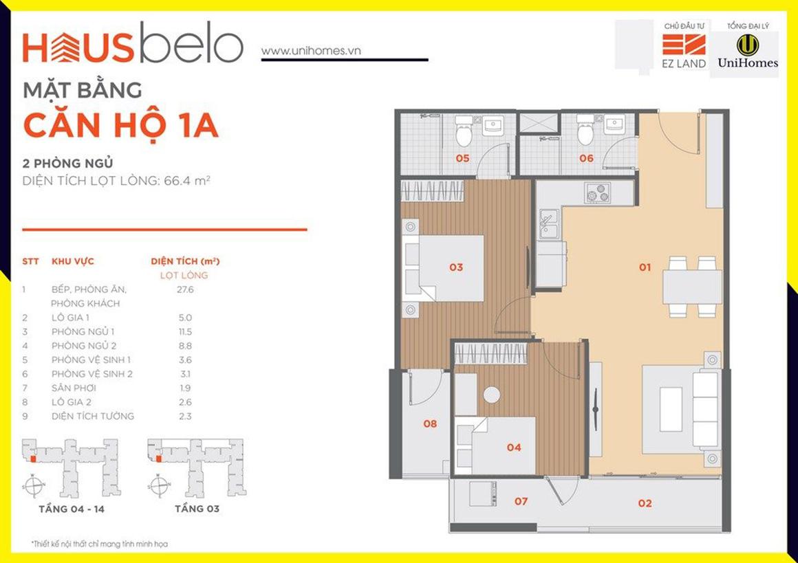 Thiết kế căn hộ 1A dự án Hausbelo quận 9