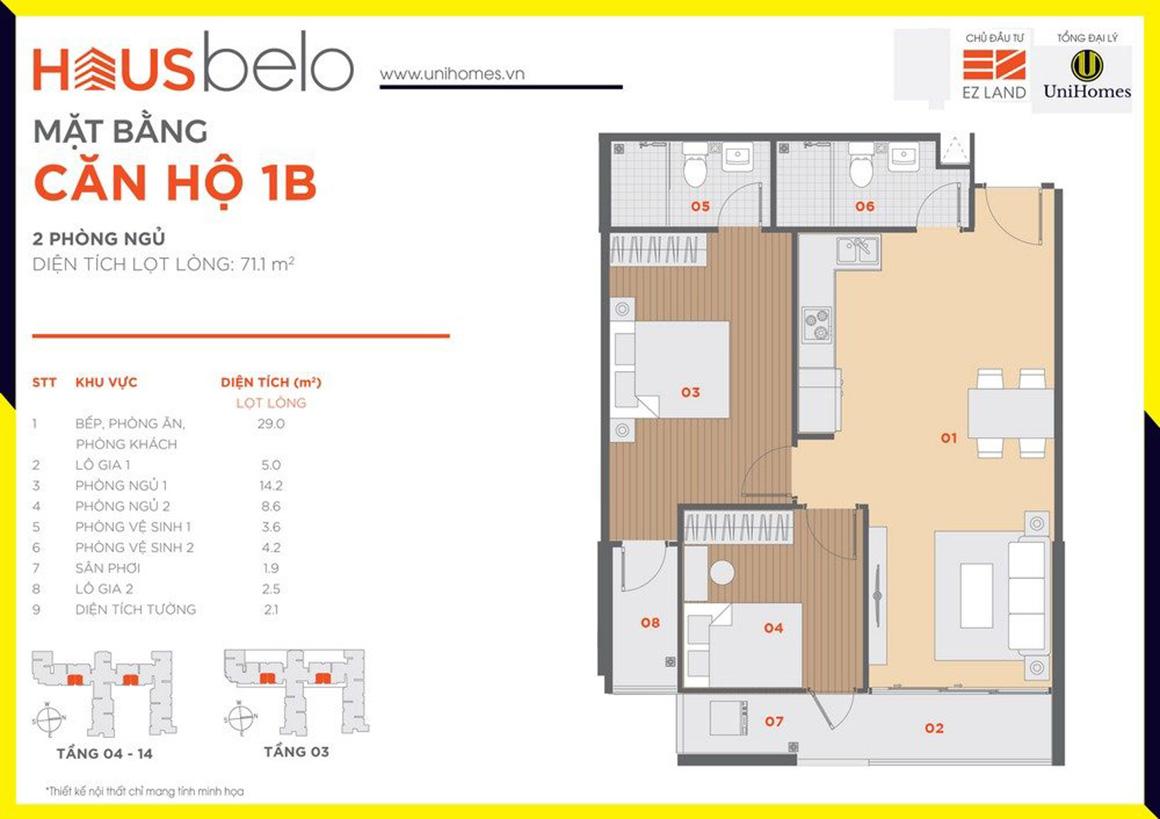 Thiết kế căn hộ 1B dự án Hausbelo quận 9