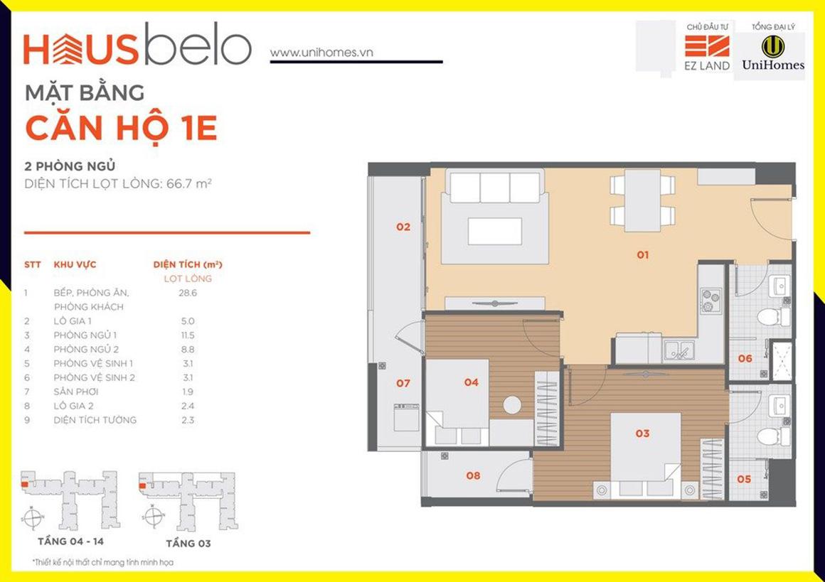 Thiết kế căn hộ 1E dự án Hausbelo quận 9
