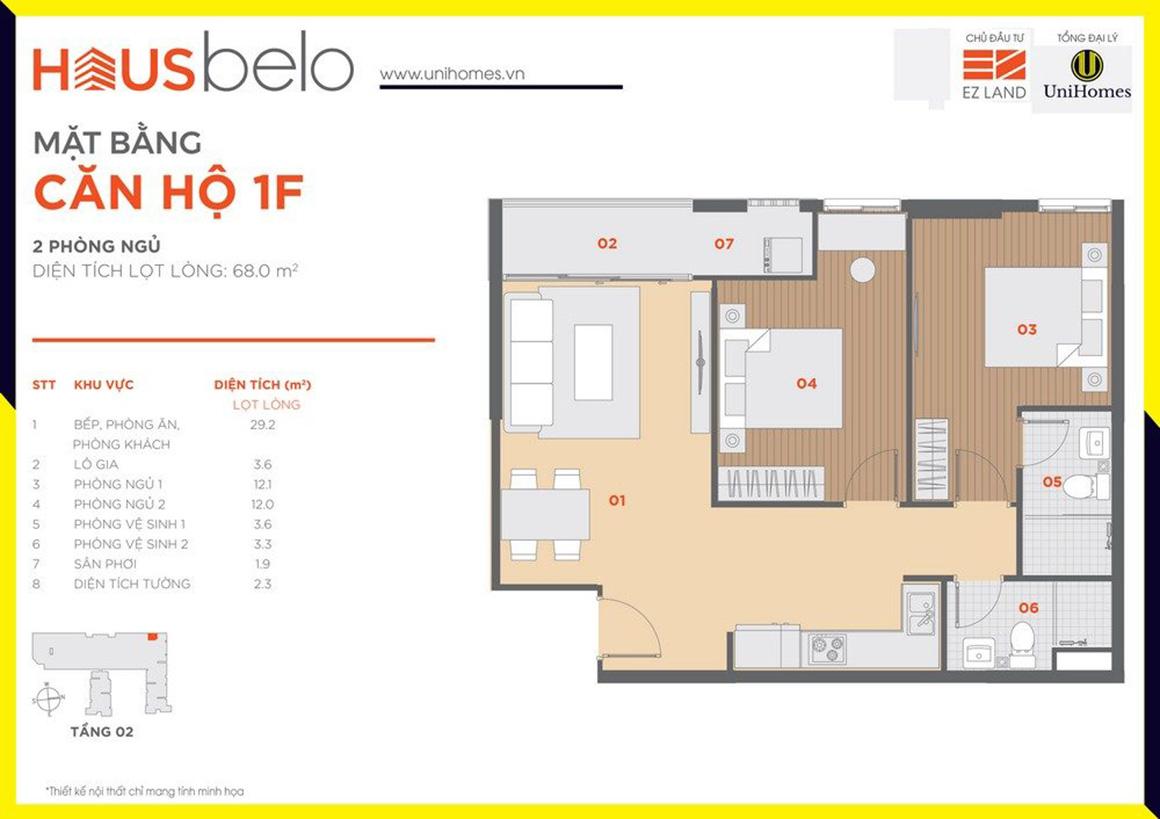 Thiết kế căn hộ 1F dự án Hausbelo quận 9