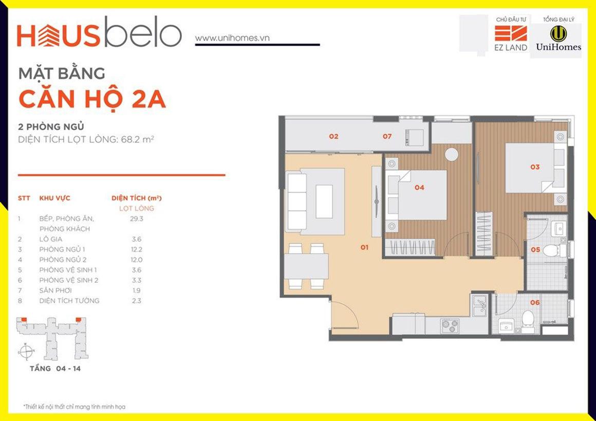 Thiết kế căn hộ 2A dự án Hausbelo quận 9