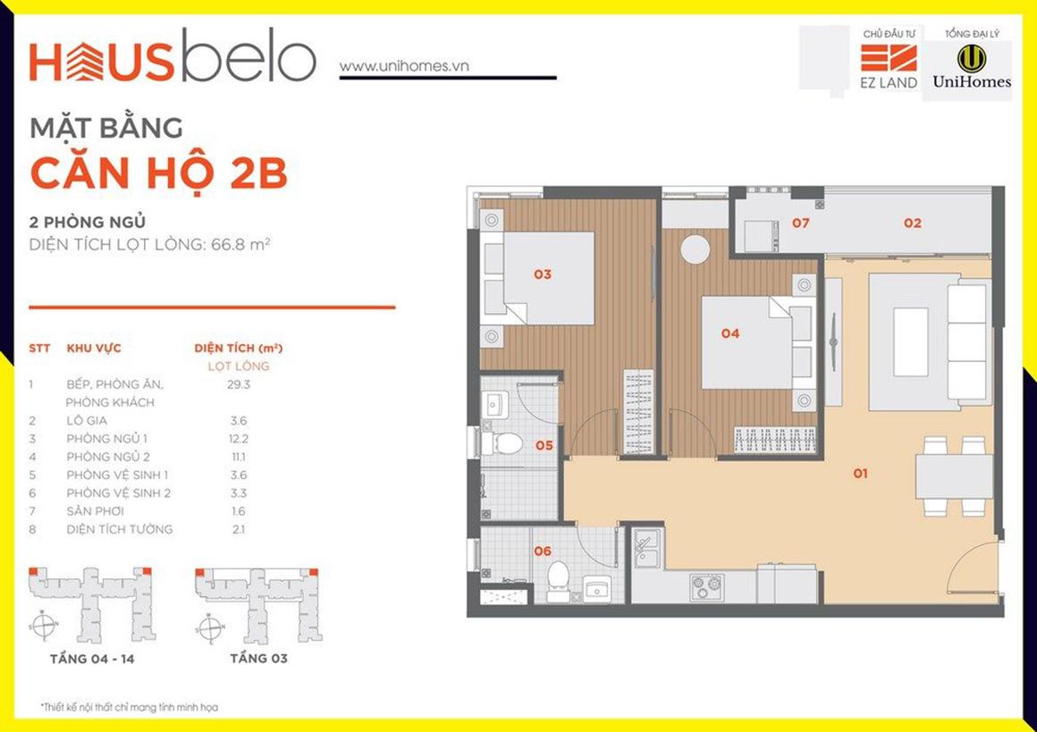 Thiết kế căn hộ 2B dự án Hausbelo quận 9