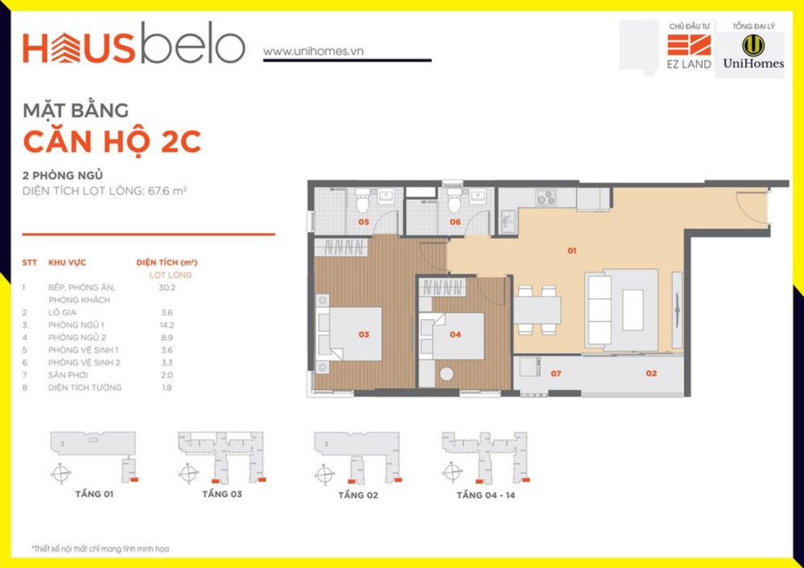 Thiết kế căn hộ 2C dự án Hausbelo quận 9