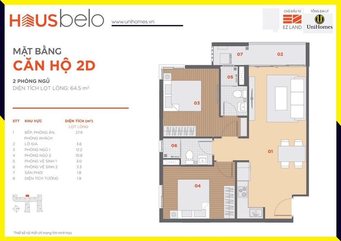 Thiết kế căn hộ 2D dự án Hausbelo quận 9