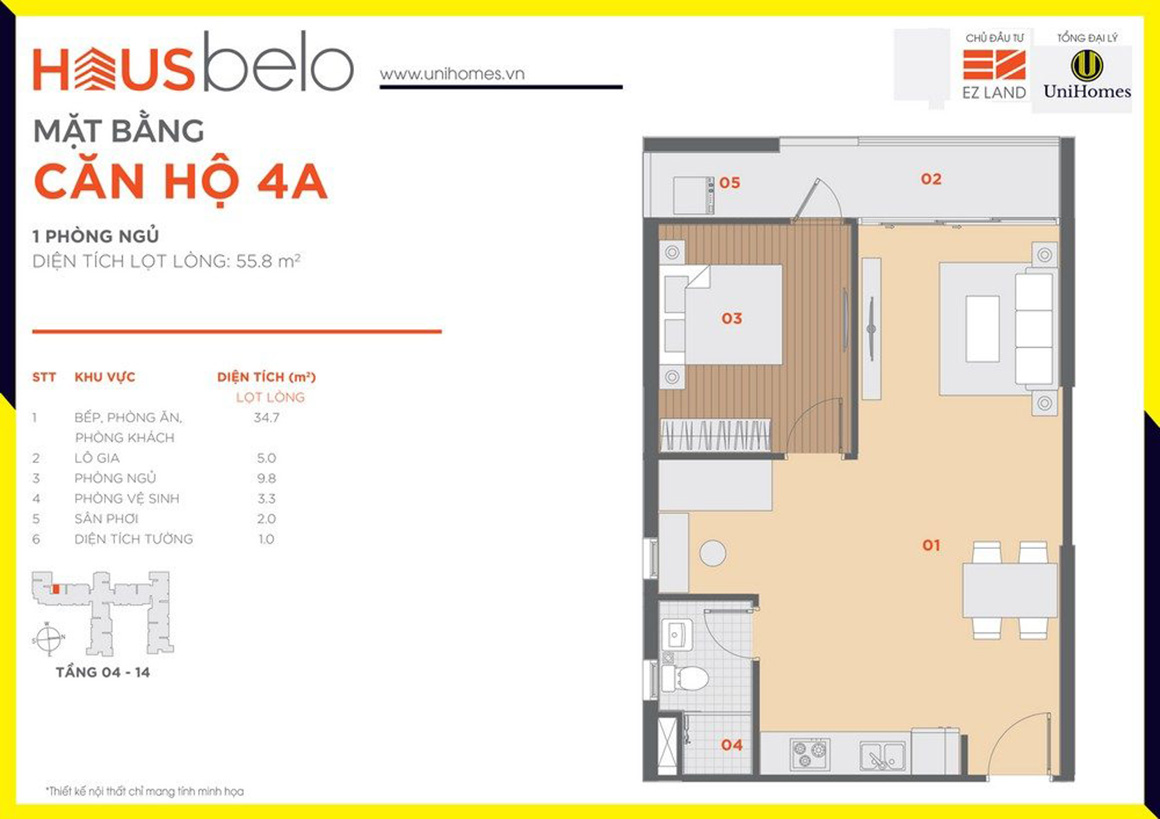 Thiết kế căn hộ 4A dự án Hausbelo quận 9