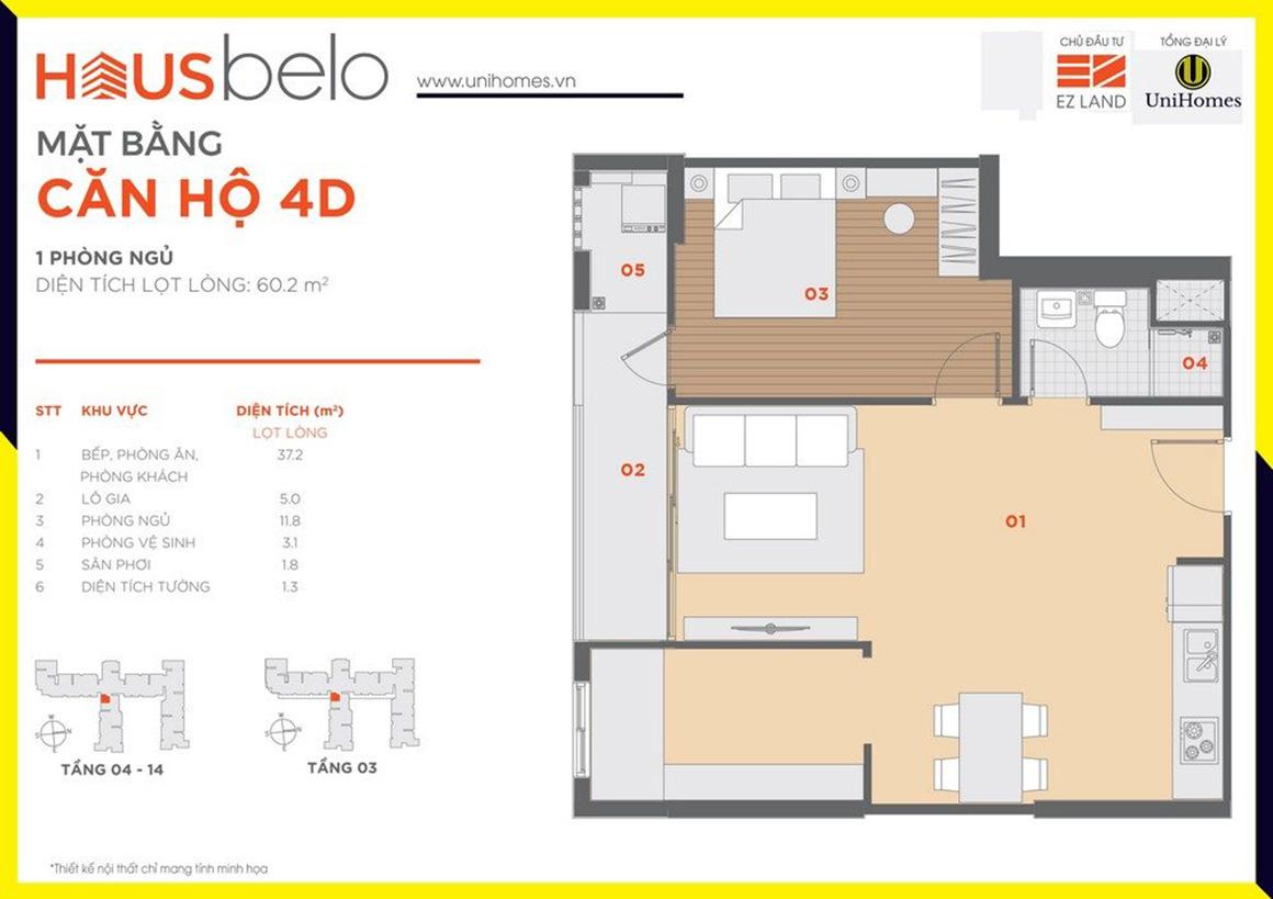 Thiết kế căn hộ 4D dự án Hausbelo quận 9