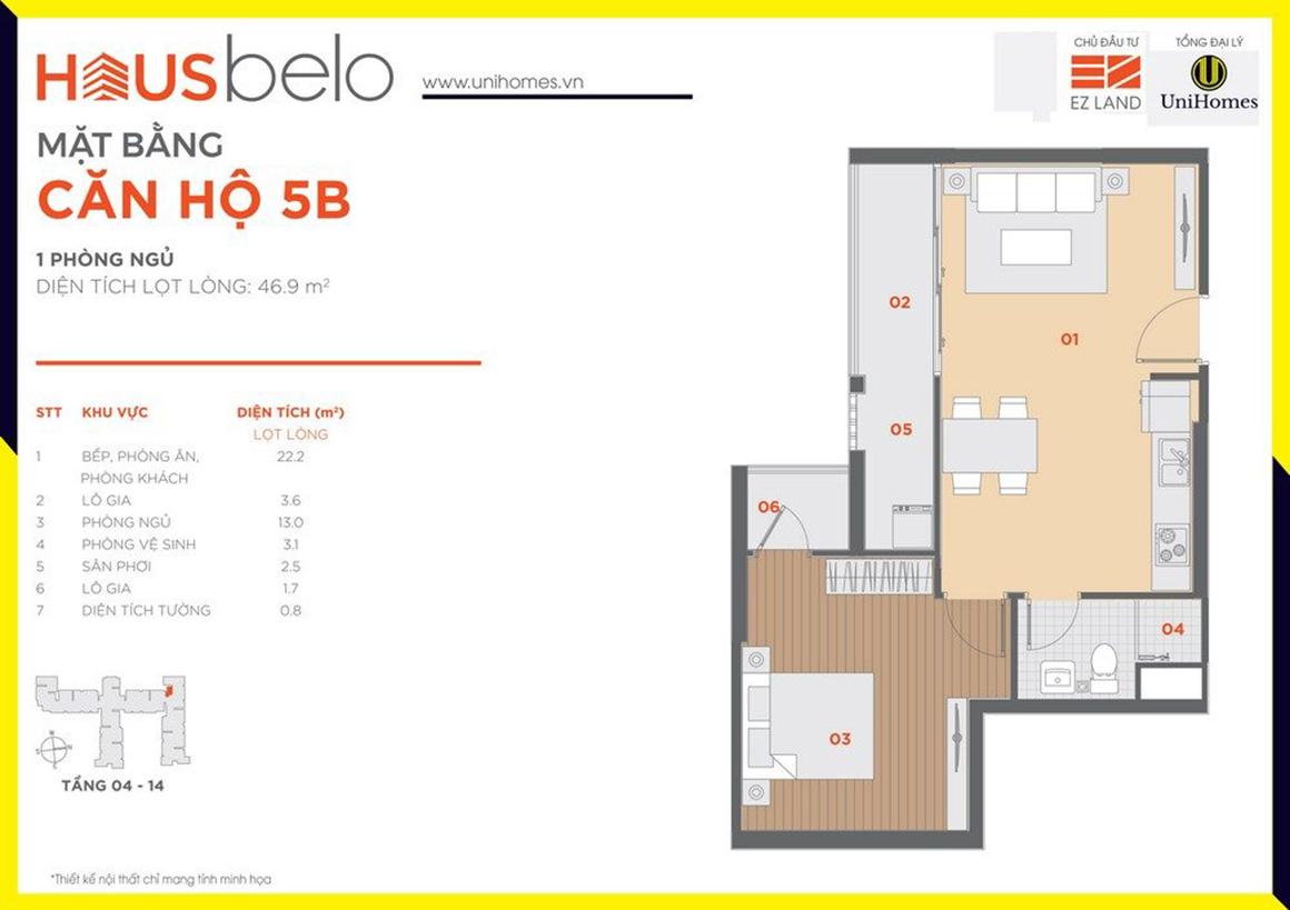 Thiết kế căn hộ 5B dự án Hausbelo quận 9