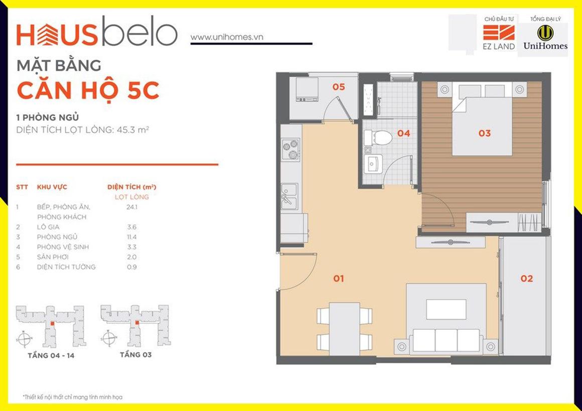 Thiết kế căn hộ 5C dự án Hausbelo quận 9