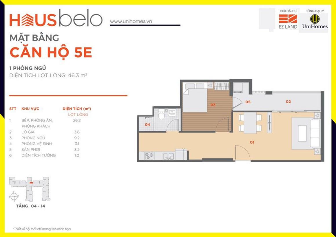 Thiết kế căn hộ 5E dự án Hausbelo quận 9