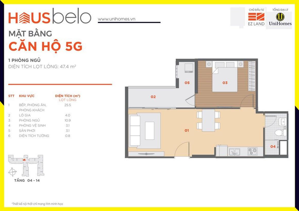 Thiết kế căn hộ 5G dự án Hausbelo quận 9