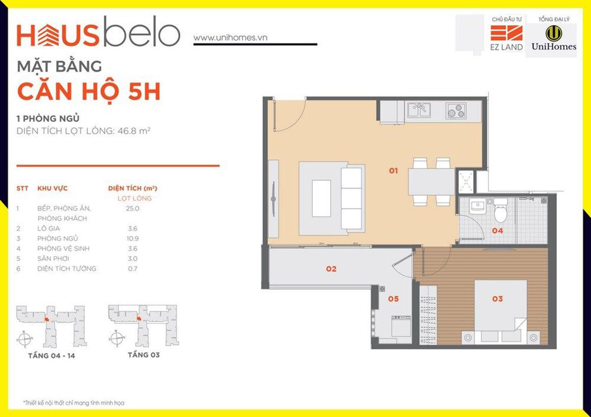 Thiết kế căn hộ 5H dự án Hausbelo quận 9