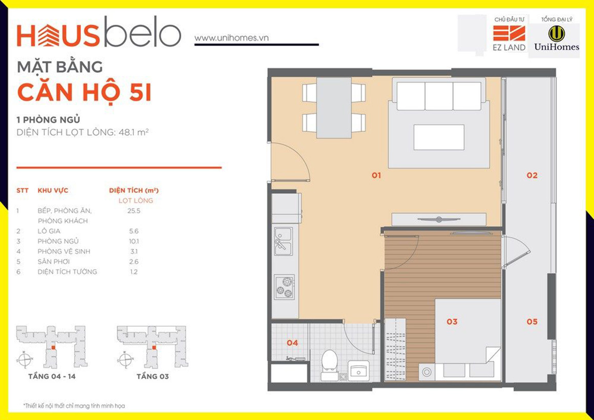 Thiết kế căn hộ 5I dự án Hausbelo quận 9