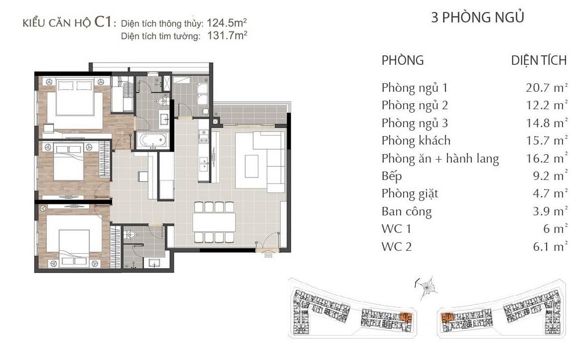Thiết kế căn hộ C1 dự án SARIMI SALA